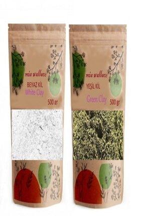 Mia Wallace Yeşil Kil ve Beyaz Kil Yüz Maskesi 500 gr x 2 Adet