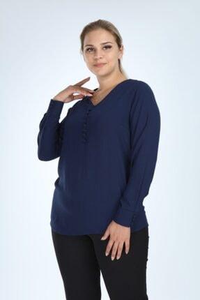 Lir Kadın Lacivert Büyük Beden Uzun Kol Düğmeli Bluz