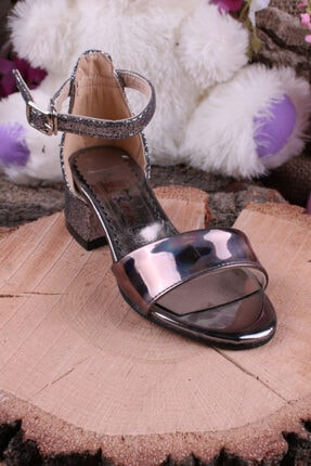 Akıllı Şirin Kız Çocuk  Platin Bilekten Bağlamalı Topuklu Simli Genç Ayakkabı