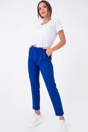 By Saygı Kadın Saks Beli Lastikli Cepli Duble Paça Double Liikra Krep Pantolon S-21K3670015