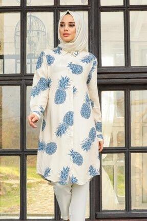 Neva Style - Ananas Desenli Mavi Tesettür Tunik 11533m