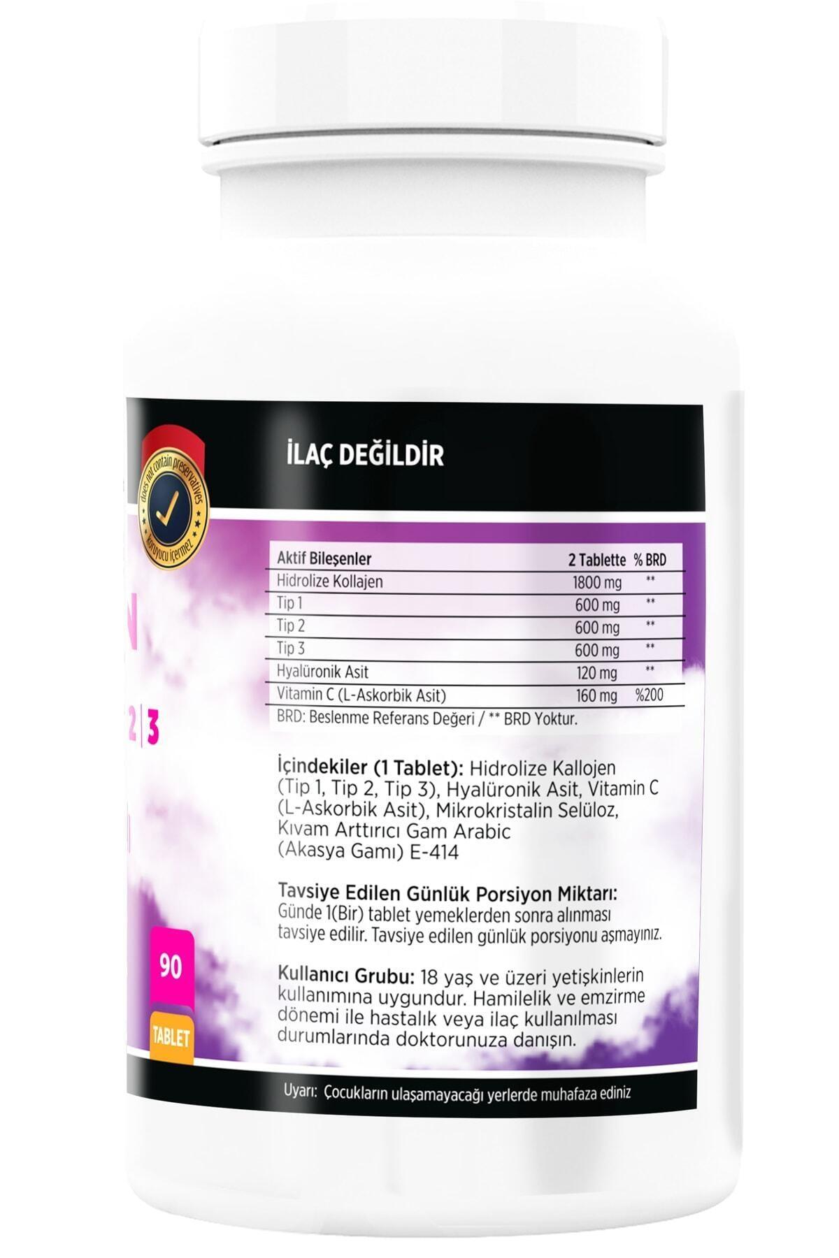 FLX Kollajen Tip-1 Tip-2 Tip-3 Hyaluronic Asit Vitamin C 90 Tablet Collagen 2