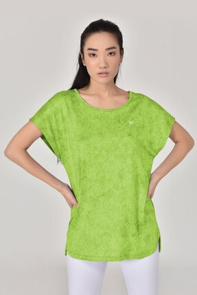 bilcee Kadın Yeşil Geniş Yaka T-shirt 8075