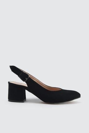 TRENDYOLMİLLA Siyah Süet Kadın Klasik Topuklu Ayakkabı TAKSS21TO0035