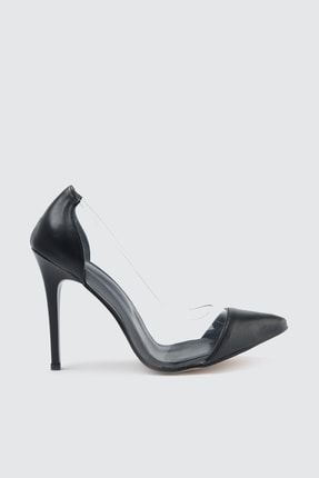 TRENDYOLMİLLA Siyah Şeffaf Detaylı Kadın Klasik Topuklu Ayakkabı TAKSS21TO0007
