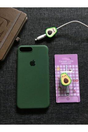 SUPPO Iphone 7 8 Plus Uyumlu Logolu Lansman Kılıf + Kablo Koruyucu