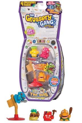 GIOCHI PREZIOSI Grossery Gang Time Wars Çöps Paket 3+1 Karakter 8 Parça Fırlatıcılı Pc284
