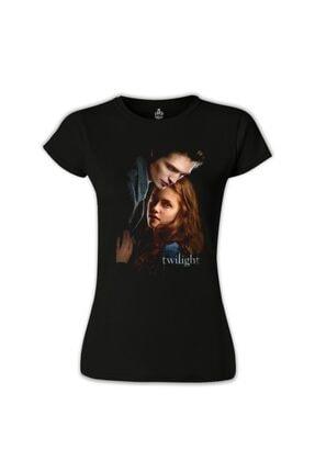 Lord T-Shirt Kadın Siyah Twilight Baskılı Tshirt