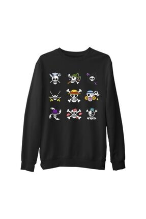 Lord T-Shirt Erkek Siyah One Piece - Character Flags Kalın Sweatshirt