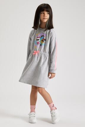 DeFacto Kız Çocuk Kral Şakir Lisans Uzun Kol Sweat Elbise