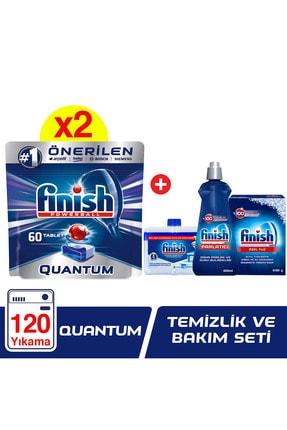 Finish Quantum 120 Tablet Bulaşık Makinesi Deterjanı (60x2) + Temizlik ve Bakım Seti
