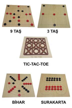 Ahtek 5 Li Oyun Seti, Ahşap Tıc-tac-toe, 3 Taş, 9 Taş, Bihar Ve Surakarta Akıl, Zeka Ve Strateji Oyunu