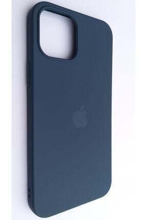 Pirok Store Iphone 12 Pro Max 6.7 Lacivert Lansman Içi Kadife Logolu Silikon Kılıf