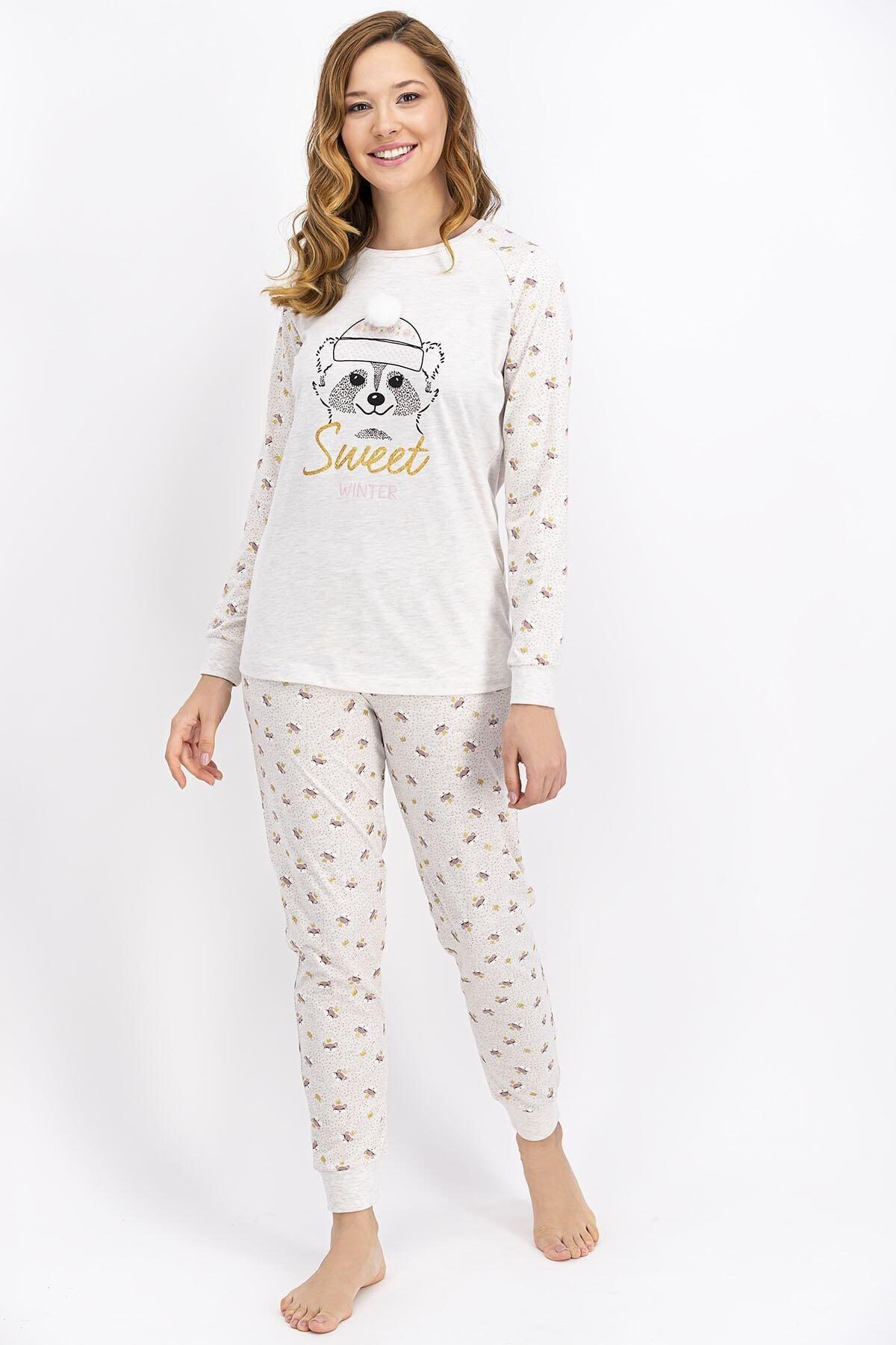 ROLY POLY Kadın Kremmelanj Sweet Winter Pijama Takımı 1