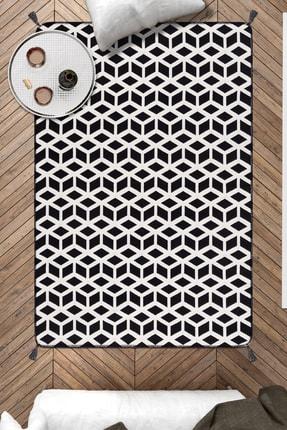 Caretta Home 120x180 Siyah Beyaz Küpler Ponponlu Dokuma Kilim