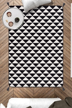 Caretta Home 120x180 Siyah Beyaz Üçgenler Ponponlu Dokuma Kilim