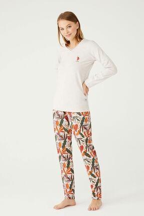 U.S POLO U.s. Polo Assn. V Yaka Kadın Pijama Takımı 16396