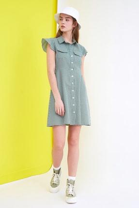 TRENDYOLMİLLA Yeşil Kareli Gömlek Elbise TWOSS21EL1244