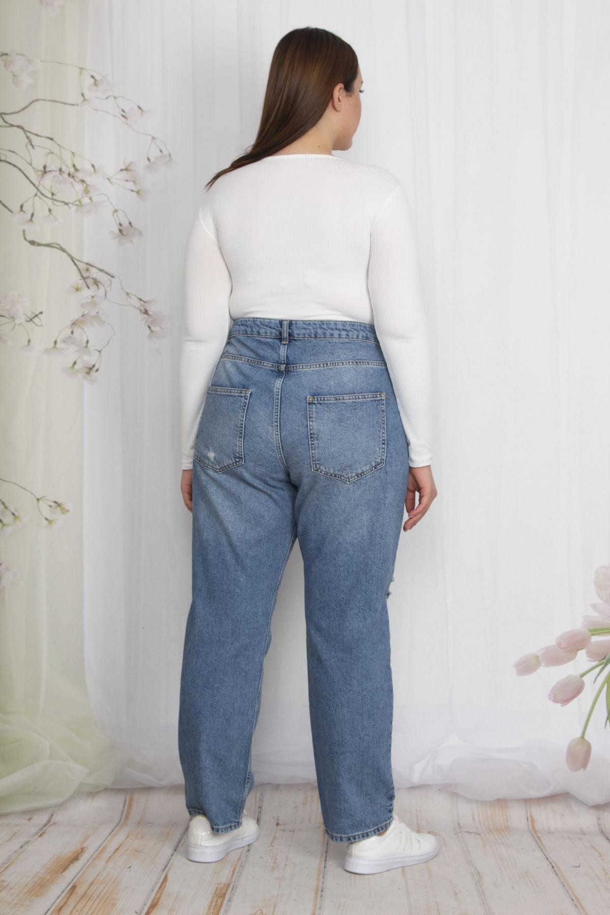 Şans Kadın Mavi Yırtık Detaylı Kot Pantolon 65N22549 2