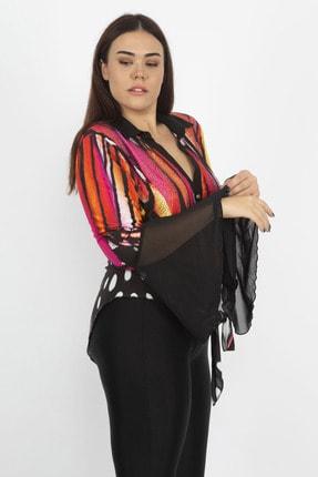 Şans Kadın Renkli Taş İşli Şifon Detaylı Bel Bağlamalı Bluz 65N22474