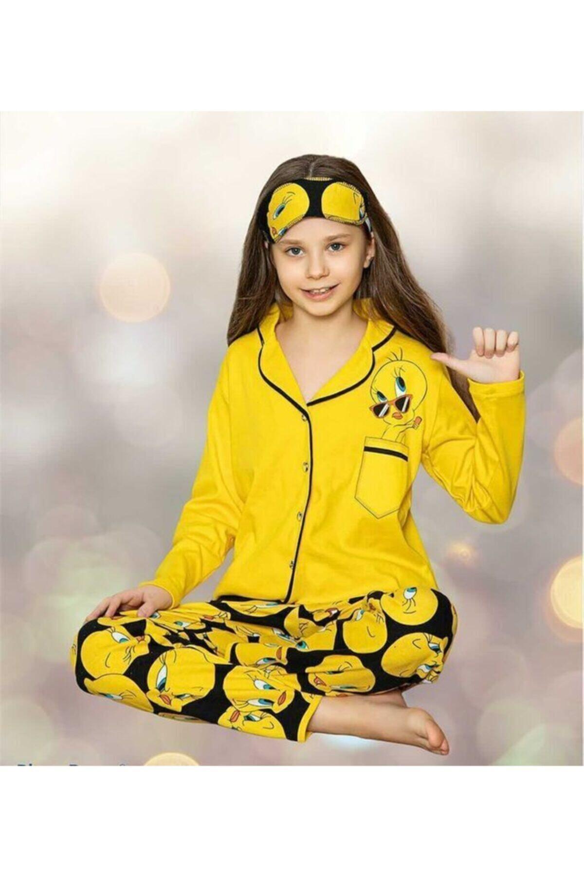 istanbultrend Anne Kız Sarı Tweety Pijama Takımı Hllo1003 2