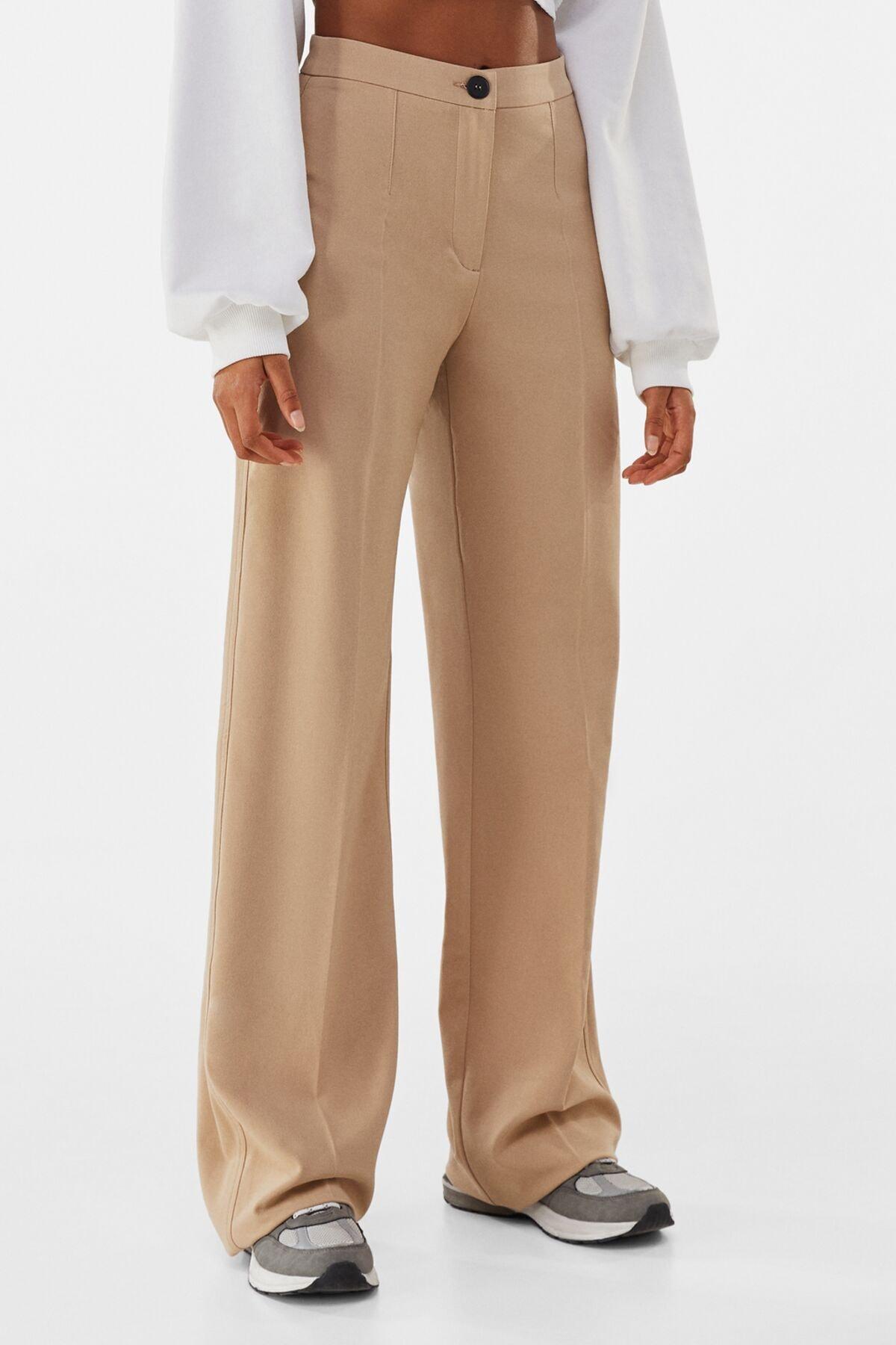 Bershka Kadın Deve Tüyü Rengi Wide Leg Pantolon 00105168