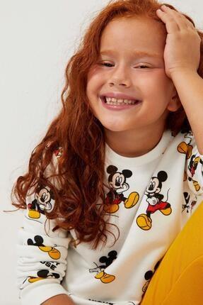 DeFacto Kız Çocuk Ekru Mickey Mouse Lisanslı Bisiklet Yaka Sweatshirt