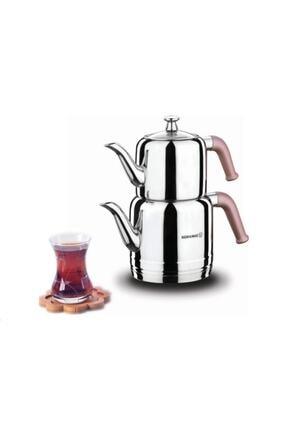 KORKMAZ A189-01 Riva Çelik Çaydanlık Takımı Rosa