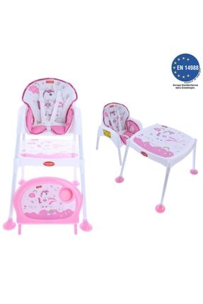 Pocket&Mama Pocket & Mama Pink Uni - Çalışma Masalı Mama Sandalyesi