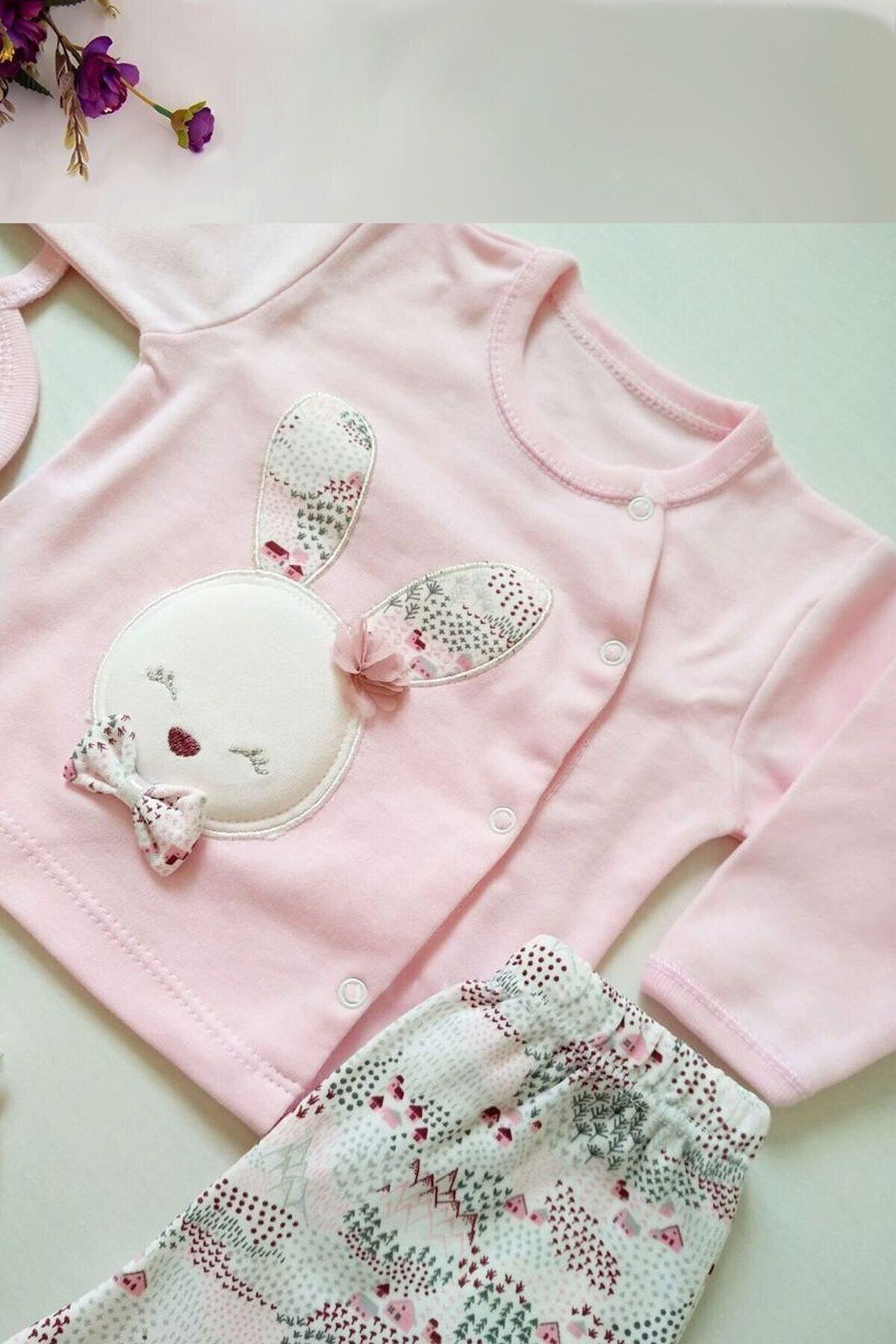 Gaye Bebe Kız Bebek Pembe Pamuklu Tavşan Desenli Hastane Çıkışı 5li 2