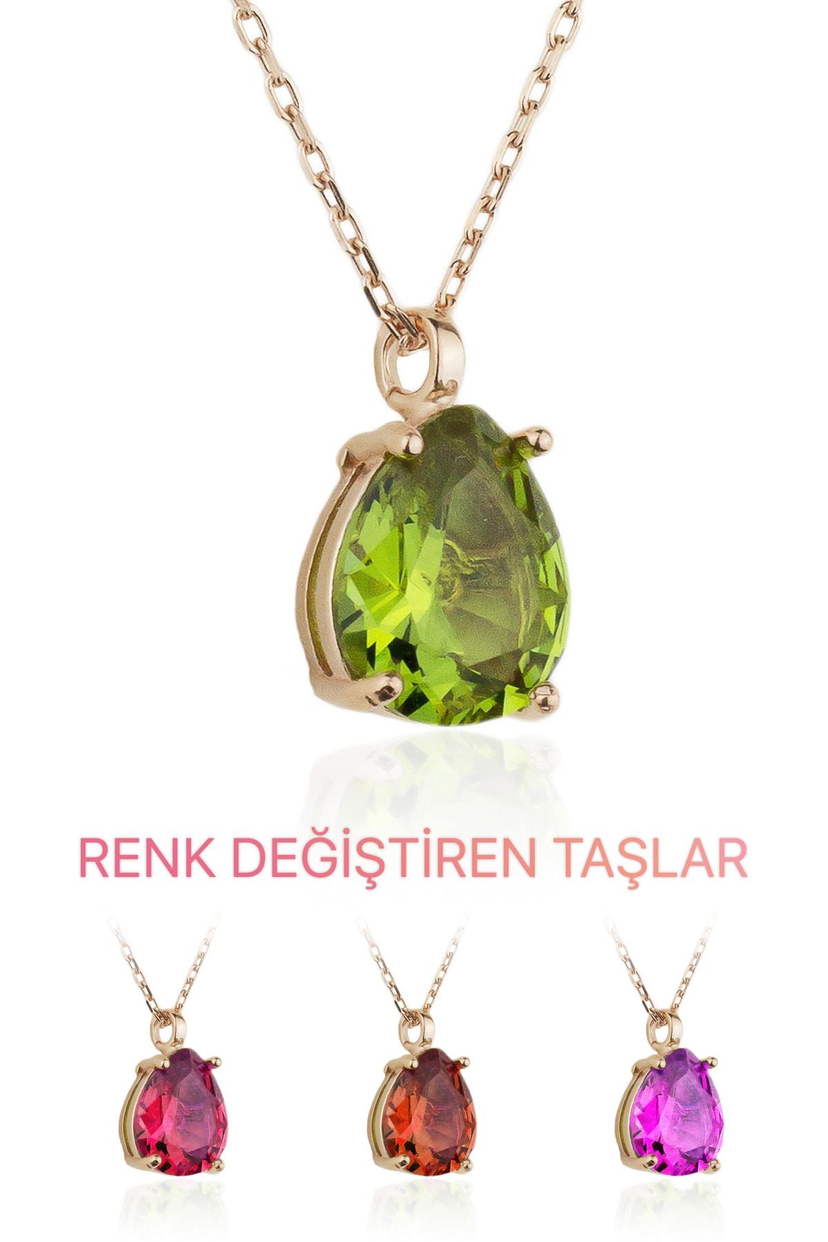 BY BARUN SİLVER Kadın Rose Zultanit Kolye  KL-0550 1