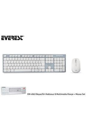Everest Km-6063 Beyaz/gri Kablosuz Q Multimedia Klavye + Mouse Set