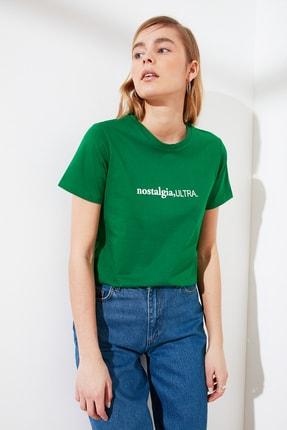 TRENDYOLMİLLA Yeşil Baskılı Basic Örme T-Shirt TWOSS21TS0230