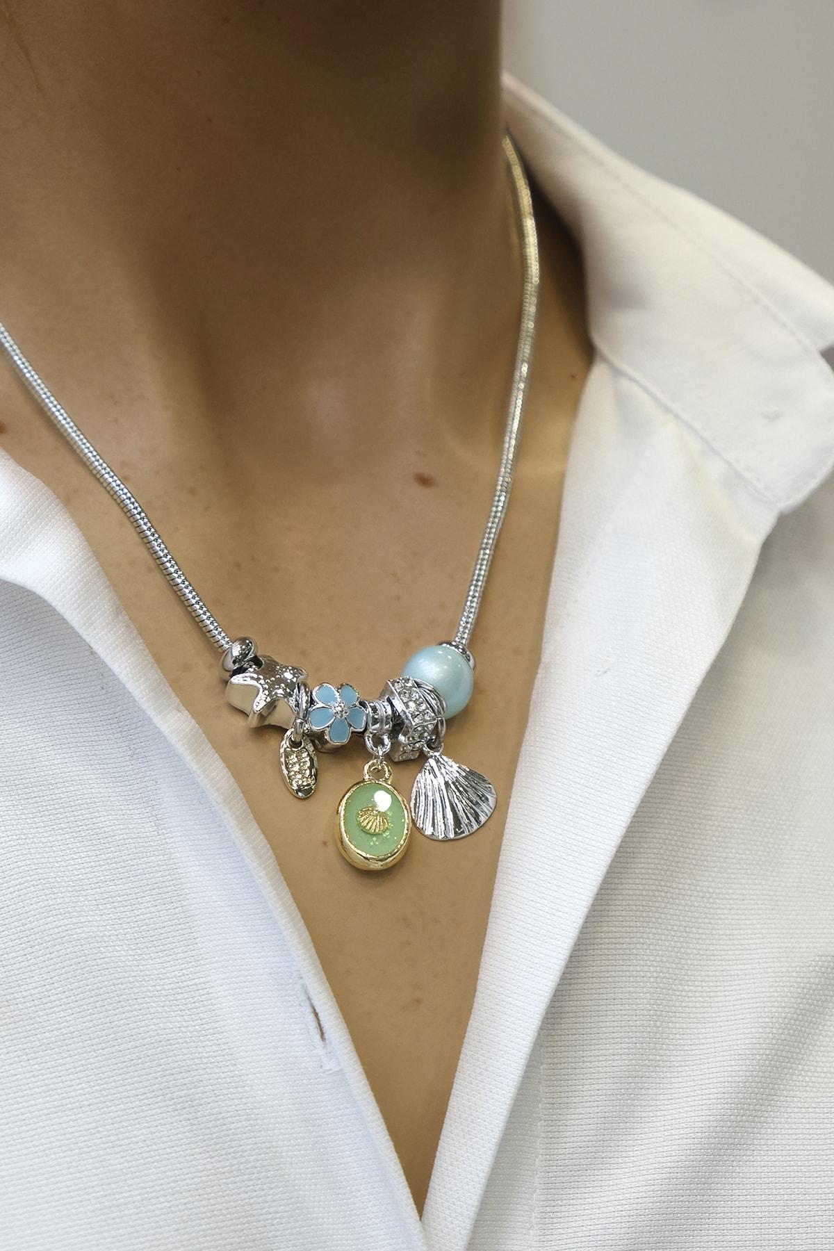Marjin Kadın Mavi Boncuklu Deniz Kabuğu Figürlü Gümüş Renkli Kolyemavi 1