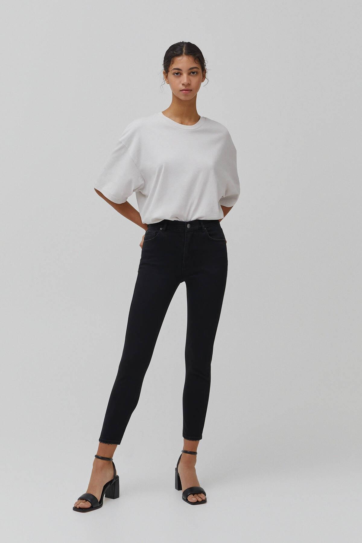 Pull & Bear Kadın  Siyah Basic Orta Bel Jean 04681310 1