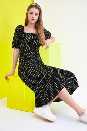 TRENDYOLMİLLA Siyah Puantiyeli Elbise TWOSS21EL0511