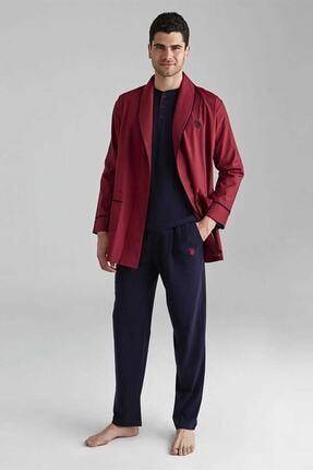 U.S. Polo Assn. Erkek Bordo 1 Uzun Kollu Pijama 1 Kısa Kollu Şortlu Takım 1 Sabahlık