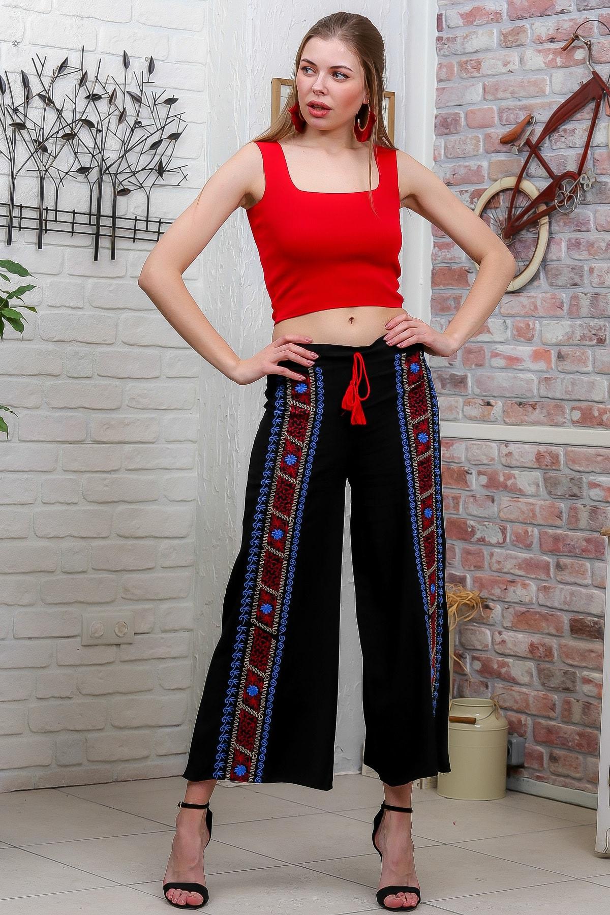 Chiccy Kadın Siyah Nakış Detaylı Bağcıklı Bol Paça Dokuma Pantolon M10060000PN98929