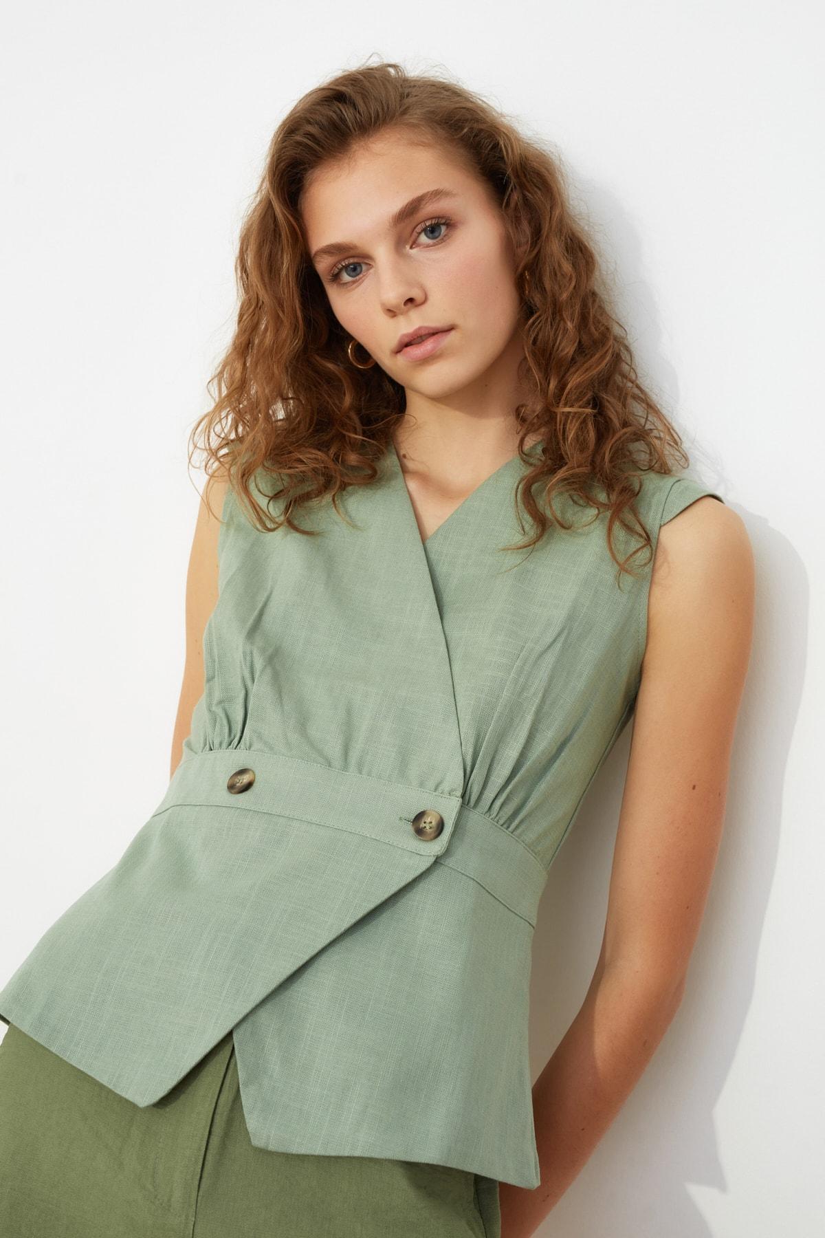 TRENDYOLMİLLA Mint Kemik Düğme Detaylı Bluz TWOSS20BZ0707 2
