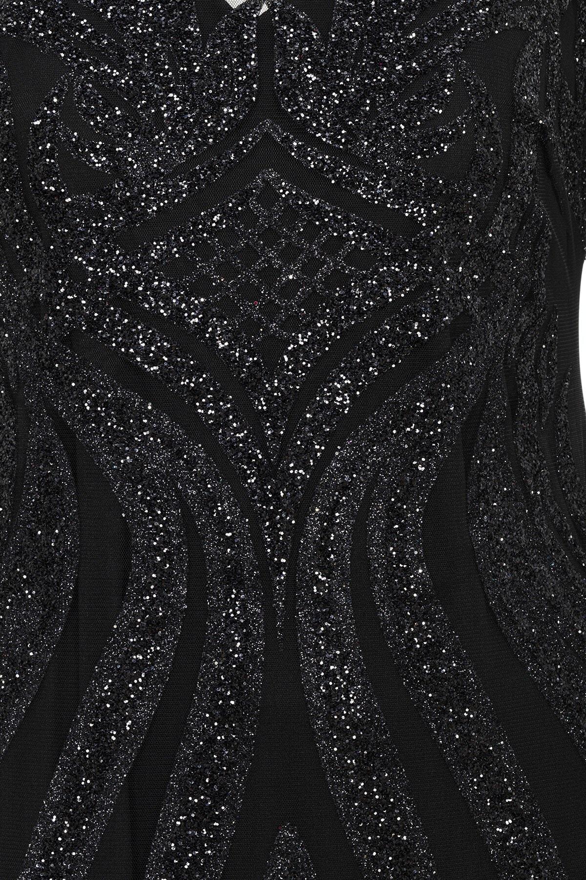 Abiye Sarayı Siyah Transparan Simli Uzun Abiye Elbise 2