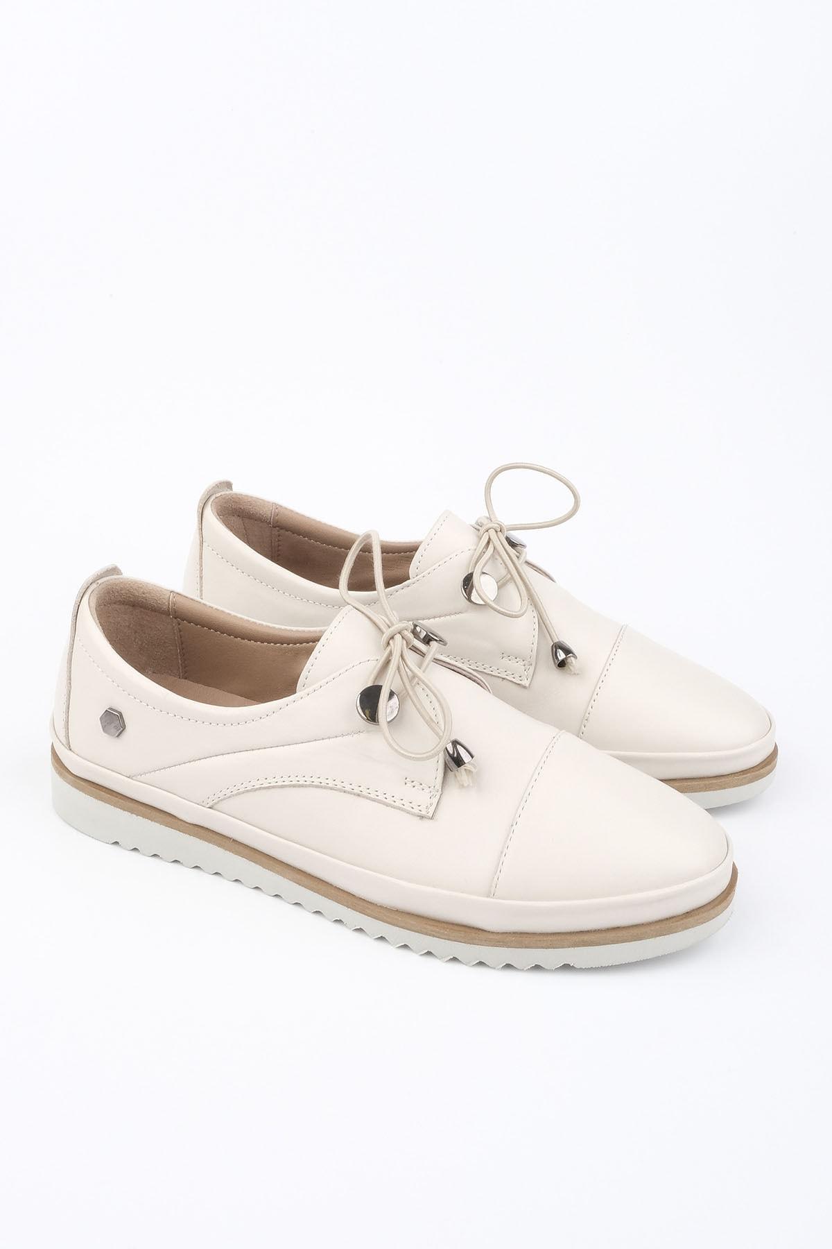 Marjin Demas Kadın Hakiki Deri Comfort AyakkabıKrem