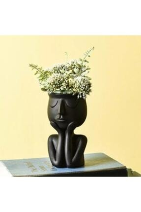 Cuteo Eli Yüzünde Beton Saksı - Siyah