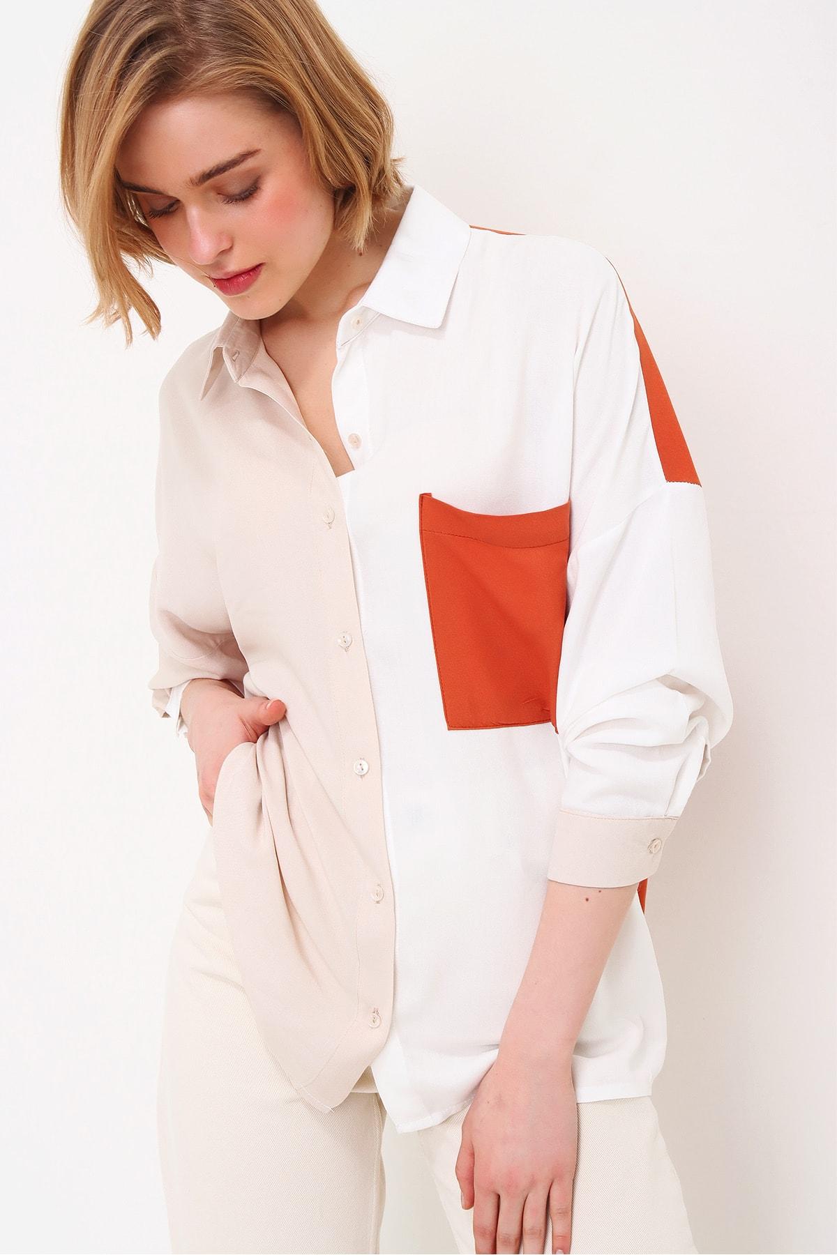 Trend Alaçatı Stili Kadın Ekru Tek Cep Bloklu Dokuma Viscon Gömlek ALC-X5898 2