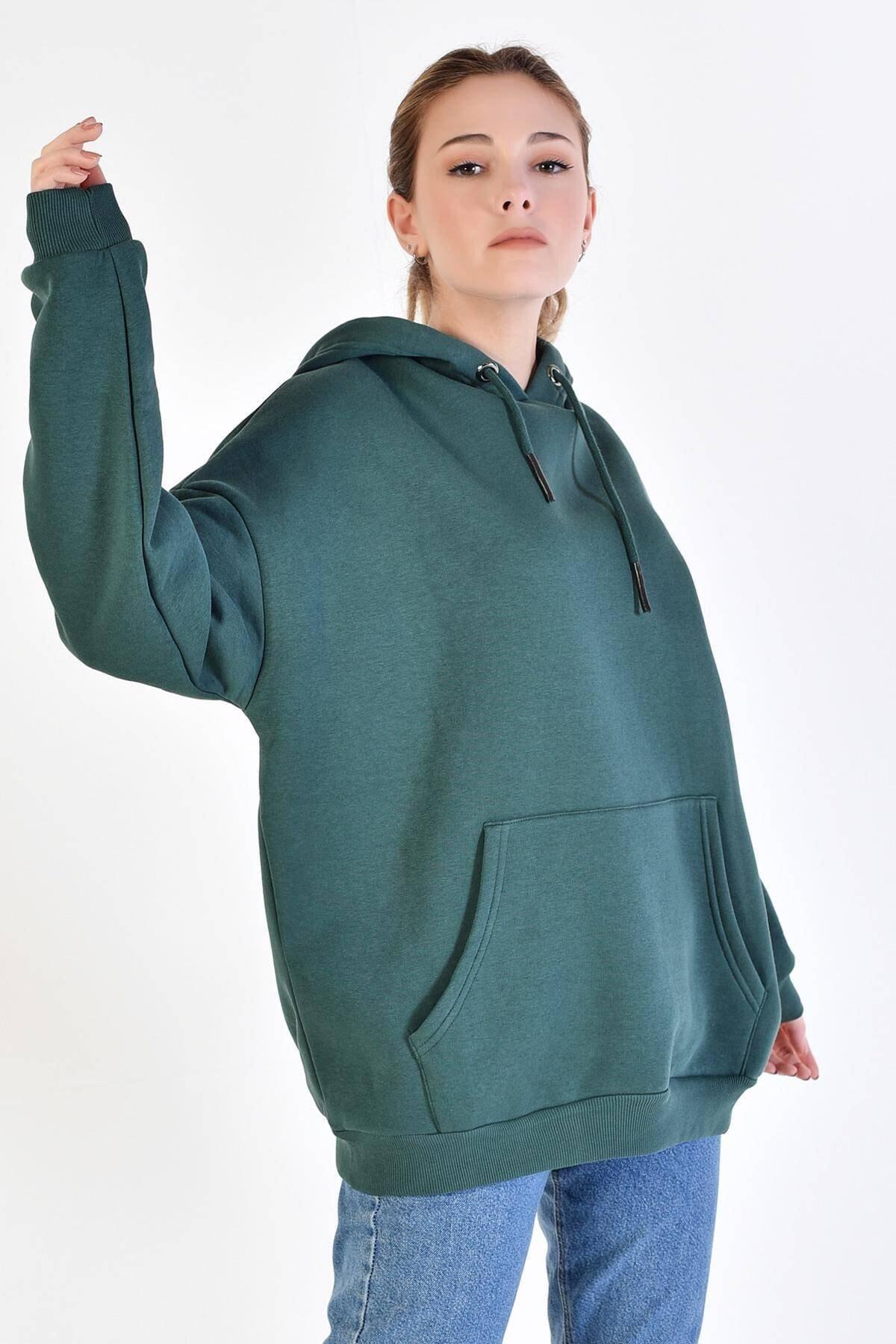 Addax Kadın Koyu Yeşil Kapşonlu Sweat S8641 - S1 - S2 - Z1 ADX-0000020618 2