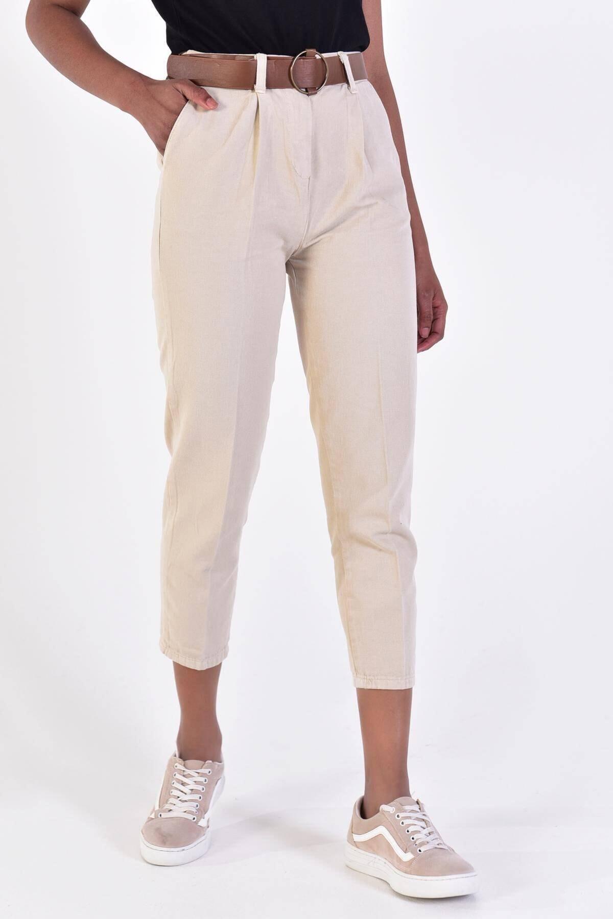Addax Kadın Taş Kemerli Pantolon Pn4204 - B6A6Z2 Adx-0000020952 1