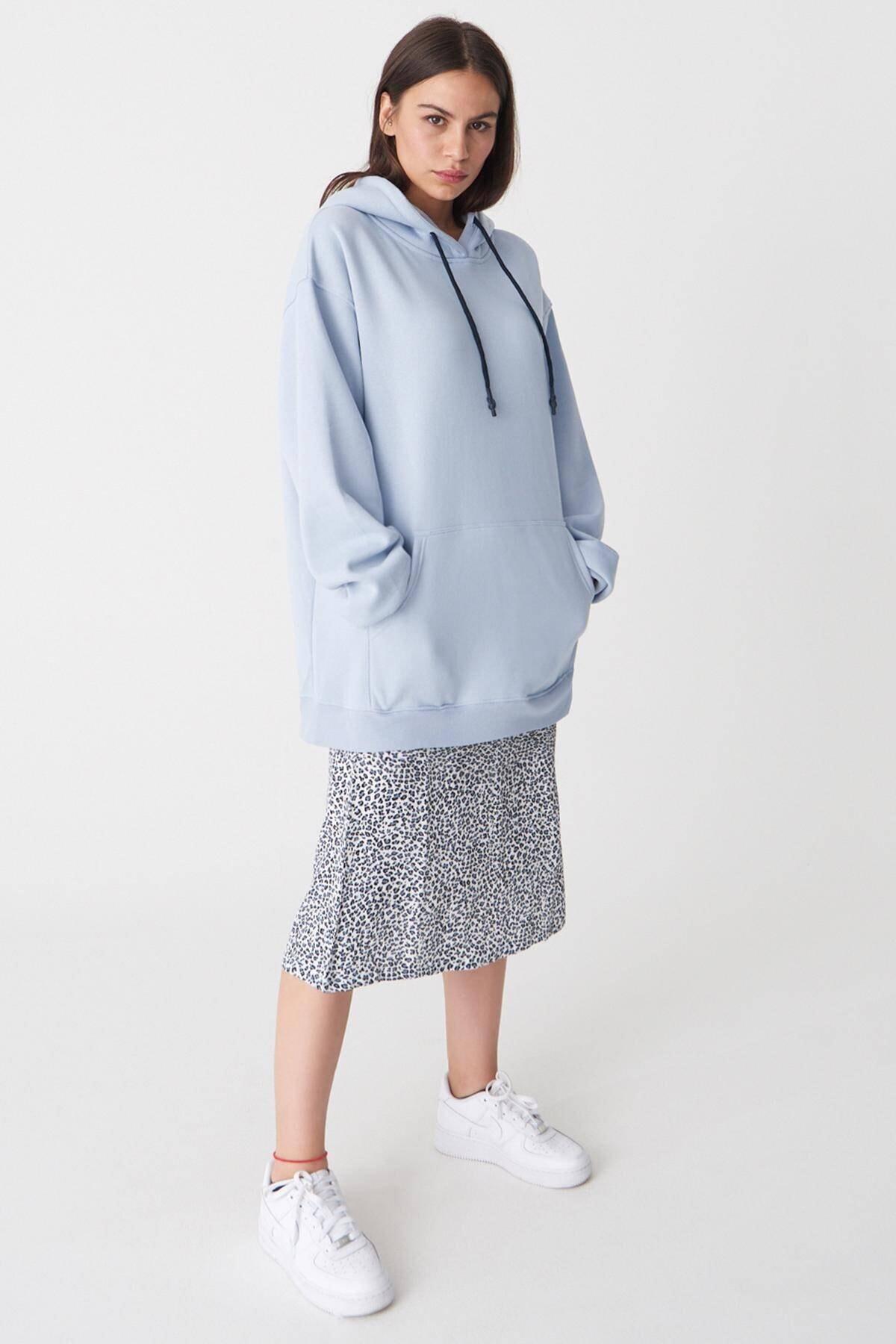 Addax Kadın Buz Mavi Kapüşonlu Oversize Sweat S0925 - N4 - P3 ADX-0000022256 2