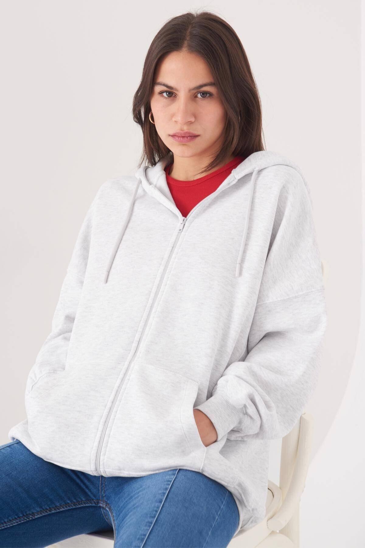 Addax Kadın Kar Melanj Kapüşonlu Uzun Hırka H0725 - W6 - W7 Adx-0000020316 1