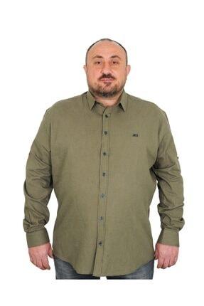 MocGrande Erkek Büyük Beden Gömlek Uzun Kol Katlamalı Keten Klasik