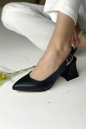 PUNTO Kadın Siyah  Kısa Topuklu Ayakkabı