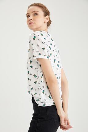 DeFacto Kadın Beyaz Kaktüs Lisanslı Oversize Kısa Kollu Tişört